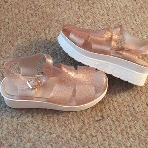 Platform Sparkly Jelly Shoes (Worn Once)
